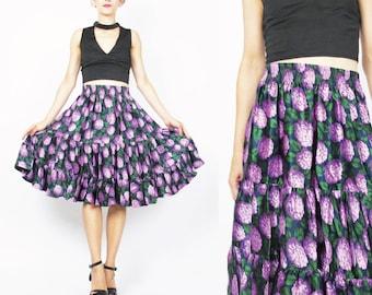 Vintage Floral  Silk Skirt Floral Print Full Skirt 1980s Silk Skirt High Waist Skirt Stretchy Elastic Waistband Lilacs Purple Midi (M/L)