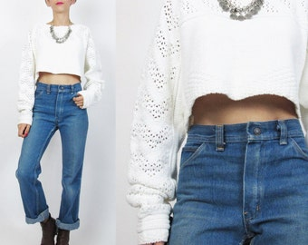 1990s Cropped Sweater White Cotton Sweater Crop Top Sheer Cut Outs Bare Midriff Sweater Oversize Slouchy Fit Chunky Knit Winter Jumper E92