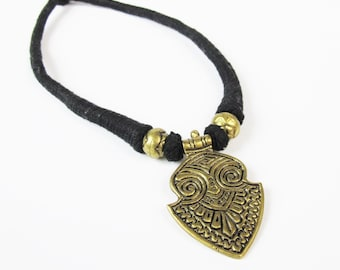 Vintage Boho Tribal Necklace Choker Necklace Gold Metal Pendant Black Cord Necklace Thread Wrapped 1970s Hippie Statement Necklace E865