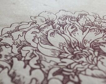 Japanese Washi Ketubah Print by Jennifer Raichman - Peony Corner