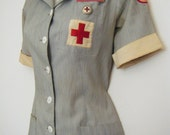 early 1940s WWII NURSE UNIFORM with name badge, American Red Cross Gray Lady Dress, size m