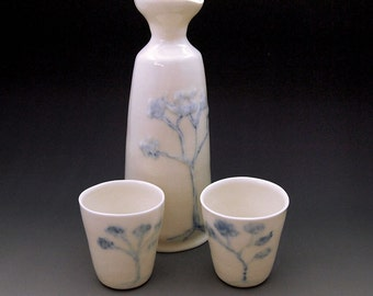Sake set  - white porcelain bottle with two cups, cobalt oxide blue and white ceramic  Anita Reay