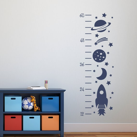 Rocket Growth Chart Decal - Outer Space Decor - Wall Decals for Kids