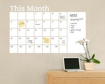 Dry Erase Wall Calendar with Memo - Vinyl Wall Decal