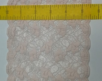 Flat Lace 5 1/2 inches Wide Peach Stretch Lace Scalloped on Both Sides 5 Yards NEW
