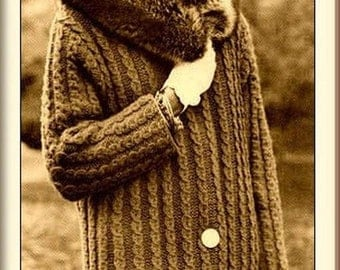 KNITTING PATTERN - Womens Coat - Chunky Cable detail Fur collar - Sizes 10-12, 14-16 and 18-20 PDF download