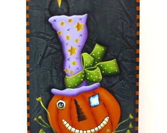 Halloween Pumpkin with Hat, Handpainted Wood Tag with Stand, Hand Painted Primitive Home Decor, Wall Art, Jack-o-Lantern, Tole Painting, B2