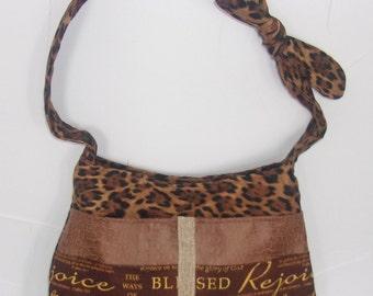 Adorable Handbag/Christian theme,cheetah & faux leather -Ready To Ship