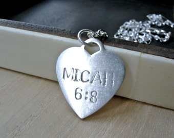 Bible verse love necklace - Personalized motto hand stamped silver disc heart necklace - Unique christian jewelry birthday gift for her