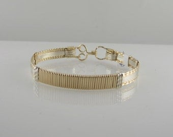 WSB-0190 14k Gold Filled and Sterling Silver Bangle Bracelet