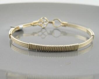 WSB-0195 Handmade 14k Gold Filled Wire Wrapped Bangle Bracelet