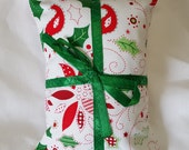 Catnip Pillow Present - Christmas print with green ribbon