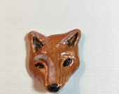 CABOCHON Fox face 3d sculptural animal totem  ceramic by JDaviesreazor