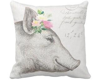 Farmhouse Decor Pastel Floral Pig