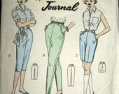 VINTAGE 1960s Pattern Pedal Pushers Trousers Shorts 24 W 34 H Australian Home Journal