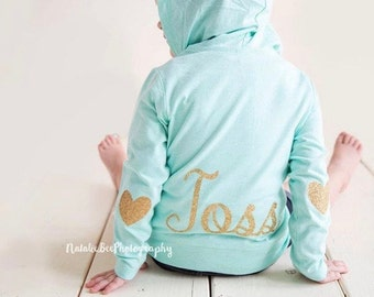 Customized with name mint hoodie jacket for baby and toddler