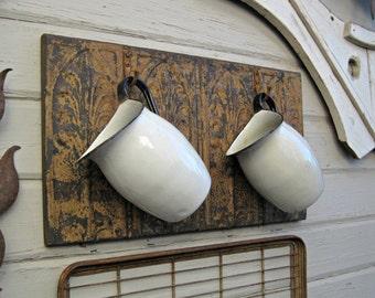 Rustic Coat Rack. Towel Rack. Kitchen Bath Hooks. Antique Ceiling Tin & Vintage Hooks. Architectural salvage. Wall coat rack. Entryway rack.