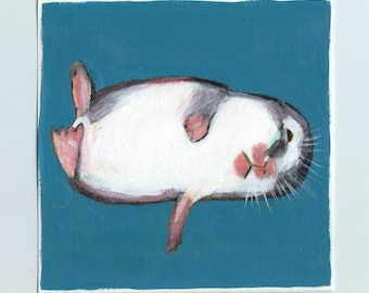 Original Acrylic Painting, Study Of A Hamster, Hamster In A Coma