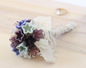Purple flower girl bouquet, alternative wedding bouquets, purple wedding bouquet, Lavender Mint Ivory Blush bouquet