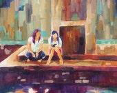 Original Art: Girl Friends Relaxing In the Sun, violet, magenta, teal, cream