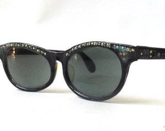 vintage 1950's cat eye eyeglasses rhinestones black plastic frames prescription fashion accessories womens eye glasses retro mid century old