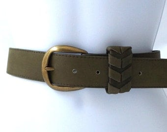 vintage 70's NEW olive green leather belt sz 36 men women fashion clothing dress mid century retro usa chevron brass buckle moss casual old