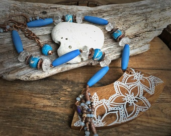 Island Tropics Necklace, Beach Jewelry, Faux Beach Glass, African Trade Beads, Rock Crystal, Tropical Jewelry, Earthy Jewelry, YaY Jewelry