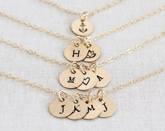 Tiny Gold Disc Necklace, Personalized Multi Disc Necklace, Gold Initial Necklace 1, 2, 3, 4 Disks