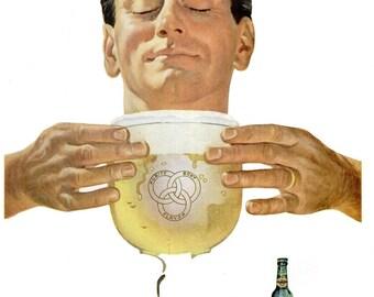1953 Ballantine Ale Beer Ad & President Truman Hawaiian Island Lei Photo Advertisement Print Poster Breweriana Bar Pub Wall Art Home Decor