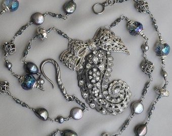 Flouncey / Paisley 1940's Pot Metal Dress Clip Marcasite bow Assemblage Necklace with Freshwater pearls and Sterling Silver Beads