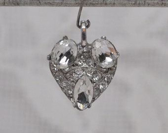 Vintage Heart Charm Silver Toned Metal with Clear Rhinestones