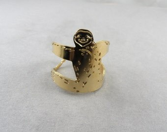 sloth ring, sloth jewelry, animal ring, animal jewelry, sloth adjustable ring, sloth