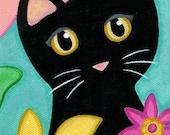 Black CAT & Tropical FLOWERS Folk Art PRINT from painting by Jill