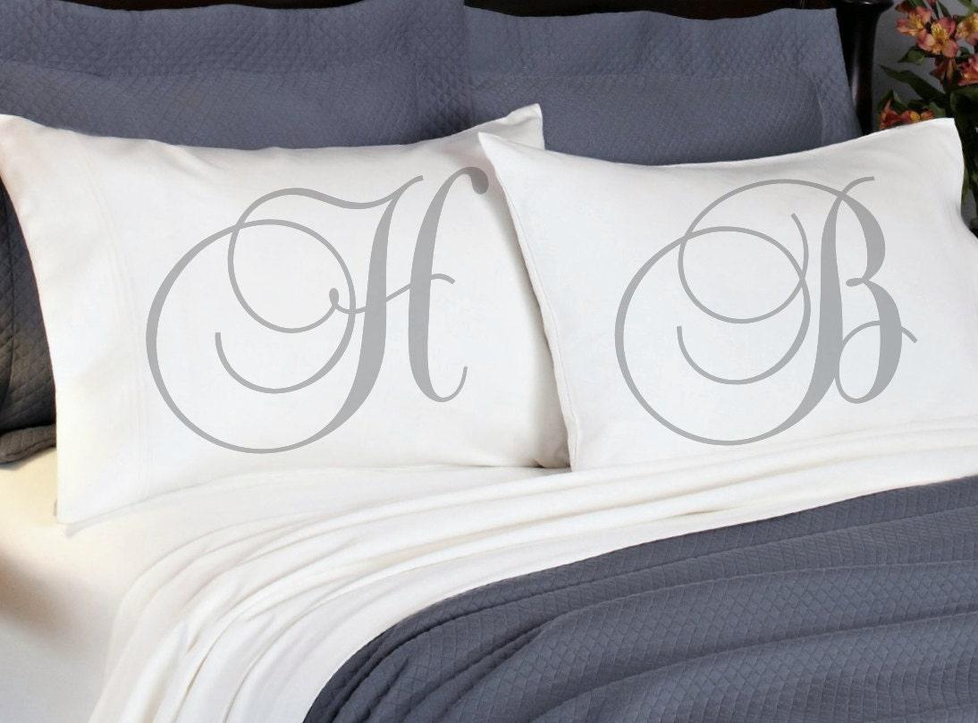 monogram initial couples pillowcases boyfriend girlfriend