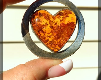 Large Amber Heart Pendant, 925 Silver, Circle, Natural Inclusions, Vintage 1950's