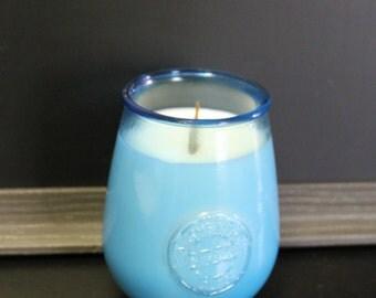 Chandelle de cire de soya en pot de verre bleu, verre sans pied