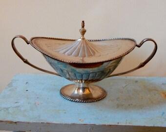 Large Lidded Loving Cup Urn International Silver Pedestal Base Soaring Handles Decorative Knob Classic Home Decor Ready Made Heirloom