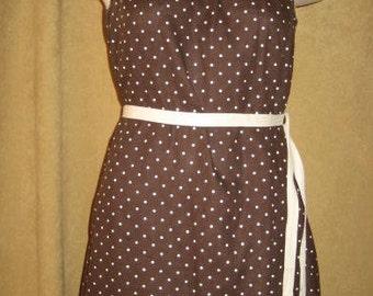 Dress Polka Dot Brown & White Helen Whiting 50s Vintage