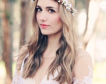 rustic wedding hair accessories white daisy crown bridal headband wedding headpiece bridal head wreath floral hair vine
