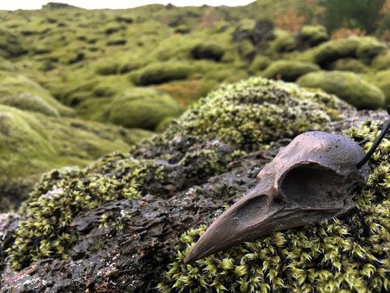 Cold Cast Dark Bronze Crow Skull Pendant