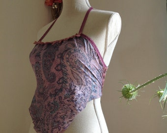Purple faery silk top with corset lacing, romantic gypsy style