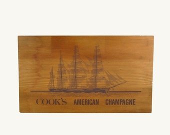 Wood Sign / Champagne Crate Wall Plaque / Clipper Ship Wall Hanging / Kitchen Decor
