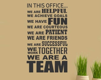 In This Office Team, Vinyl Wall Lettering, Vinyl Wall Decals, Vinyl Decals, Vinyl Lettering, Wall Decals, Office Decal, Employee Motivation