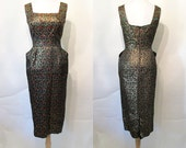 "Dazzling 1950's ""Peggy Hunt"" Designer Brocade Cocktail Party Hourglass Dress w/ Sequin Trim Rockabilly VLV Pinup Girl Vixen Curvy Size-Small"