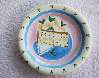 CAKE DESSERT Salad PLATE Ceramic Hand Painted Peach Cherry Fake Faux Food Round Wall Display Pink Blue Cherries Hankie Napkin Design Kitchen