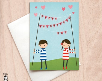 Valentine's Day Bunting Flags - Boy & Girl - Happy Valentine Greeting Card