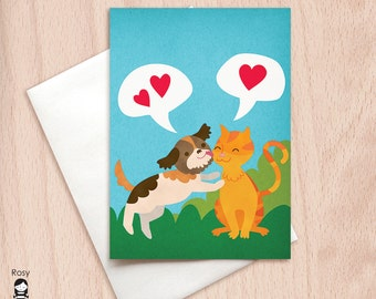 Kisses - Cat & Dog - Animal Love Card - Happy Valentine Greeting Card