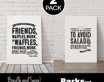 "Leslie Knope Quote Posters - ""Waffles, Friends, Work"" + ""Avoid Salad"" ~ 2 Bundle Pack~ Digital / Printable Art Posters ~ Parks & Recreation"