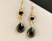 Black Onyx Gold Filled Dangle Earrings, Unique Wire Wrapped Black Heart Drop Earrings