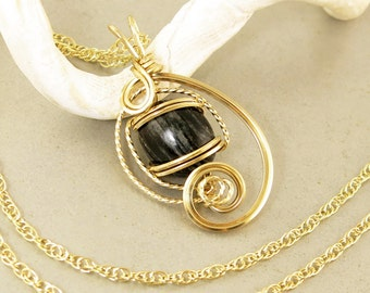 Black Gold Pendant Chain Necklace, Unique Zebra Jasper Black Stone Gold Wire Sculpture Pendant, Gift For Her, Black Jewelry
